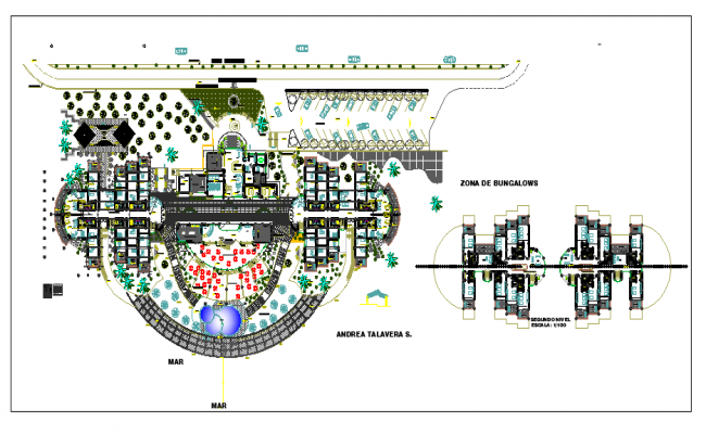 Layout plan of Hotel with resturant dwg file