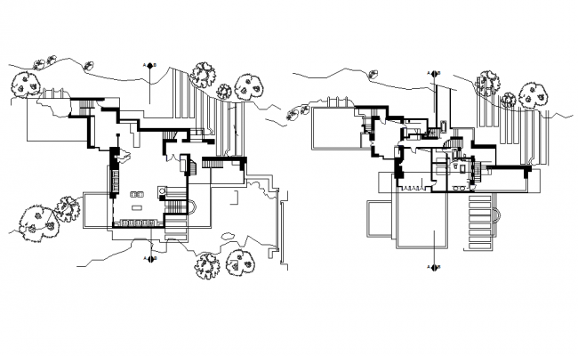 Layout plan of a bungalow dwg file