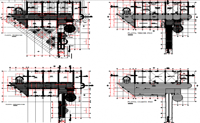 Layout plan of a education center dwg file