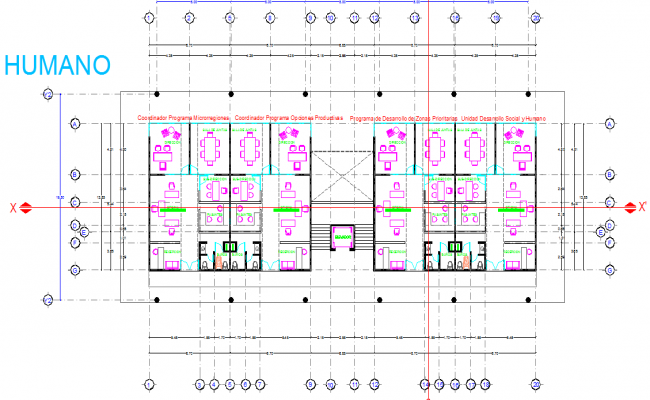 Layout plan of a federal government office dwg file