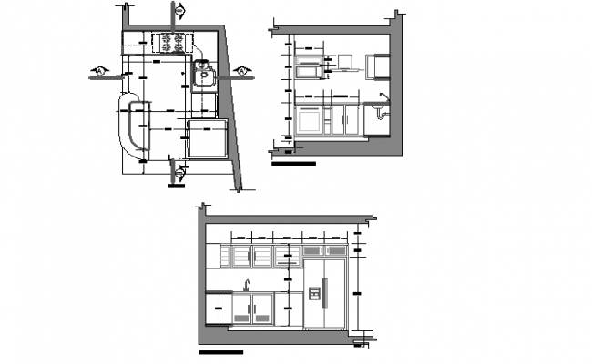 Layout plan of a kitchen with elevation
