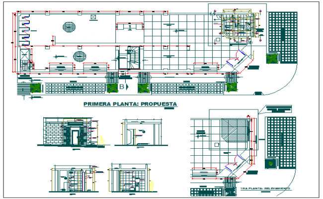 Layout plan of a office and elevation design dwg file