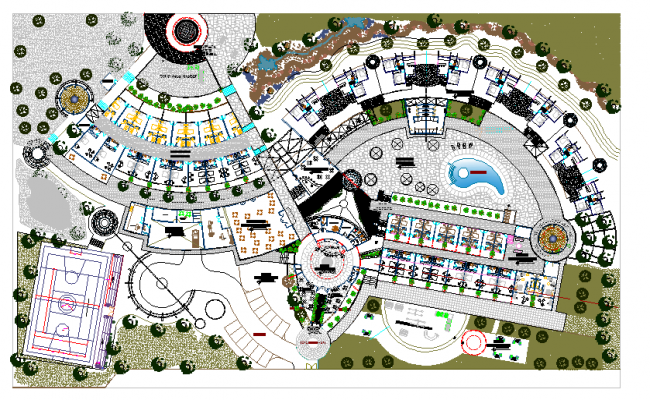 Layout plan of hotel dwg file