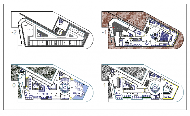 Layout plan of hotel with interior plan dwg file