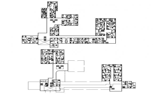Layout Plan Of Office Building Structure 2d View Cad