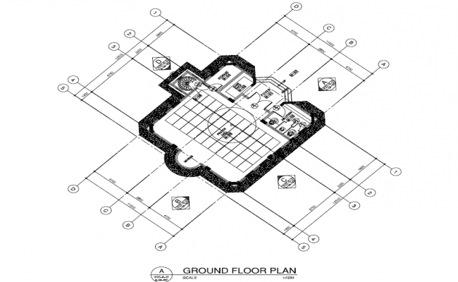 Layout plan of residence with detailing