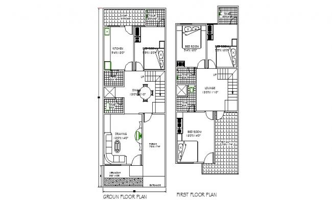 Layout plan of residential house 20' x 50'