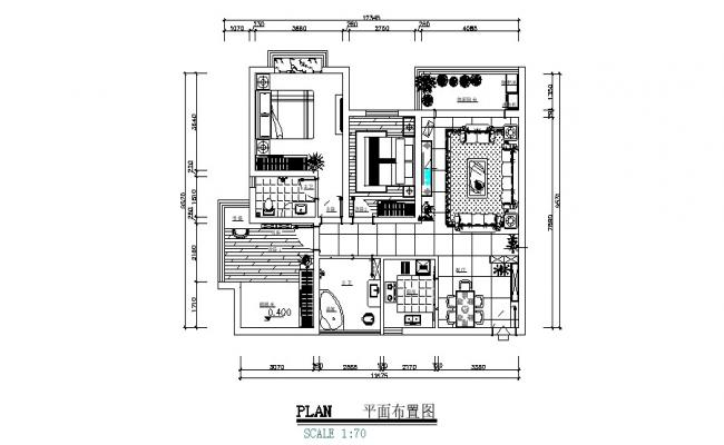 Layout plan of the house design with detail dimension in AutoCAD