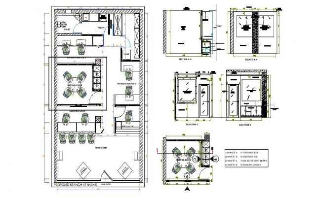 Layout plan of the meeting room with section and elevation in dwg file