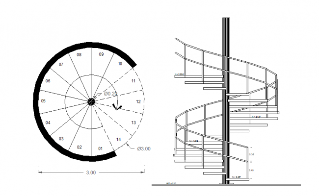 Layout Plan With Elevation Of A Spiral Staircase