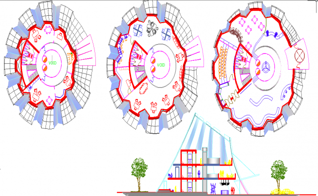Layout plans and elevation of building dwg file
