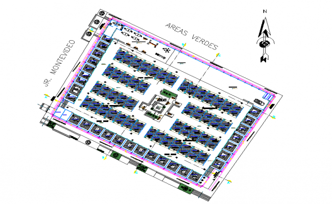 Layout plot commercial building office plan autocad file
