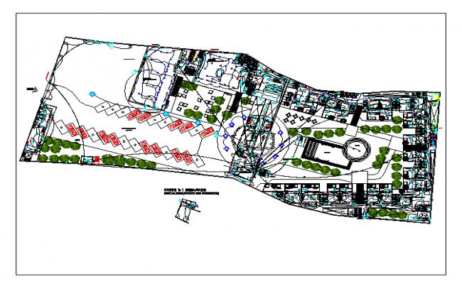 Layoutplan of hotel dwg file