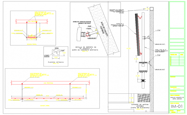 Led tv unit wall stand detail in cad files