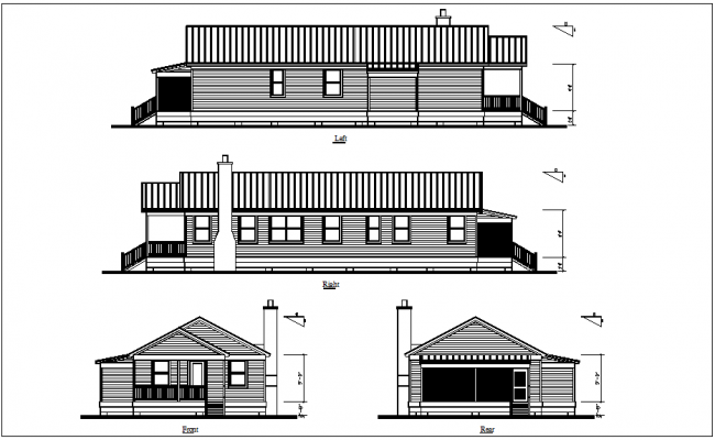 Left,right,front and rear view of bungalows dwg file