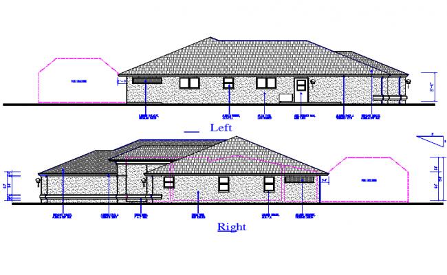 Left & right Side Elevation detail