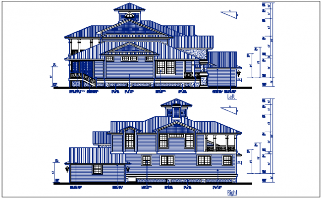 Left and right elevation details with dimension details dwg file