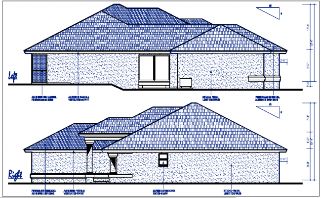 Left and right elevation details with dimension details dwg files