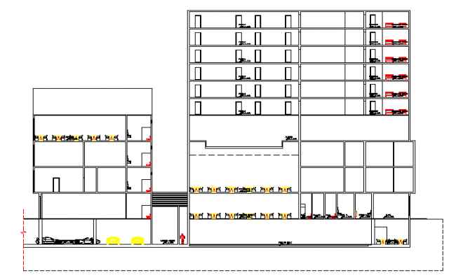 Left and right sectional view details of five star hotel dwg file