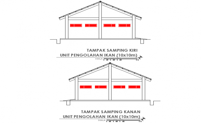 Left side and right side section Fish processing unit plan detail