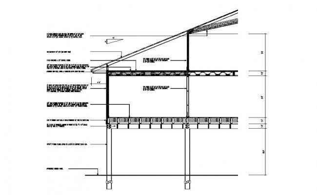 Left side constructive section details of building dwg file