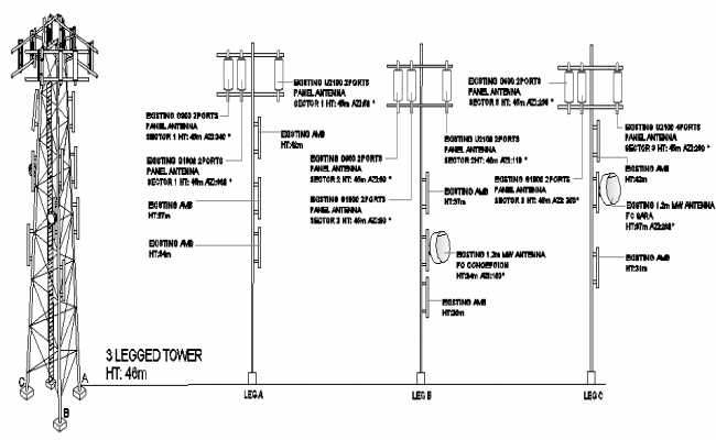 Leg electrical installation details of three legged tower dwg file