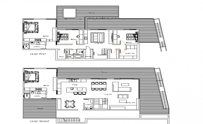 Level 1 and level 2 bungalow layout plan