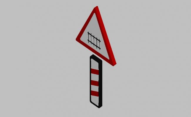 Level crossing 3d road sign block cad drawing details skp file