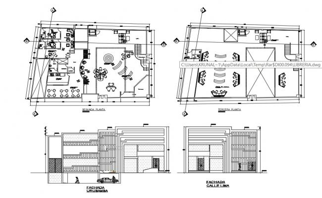 Library Architecture Plan In AutoCAD File
