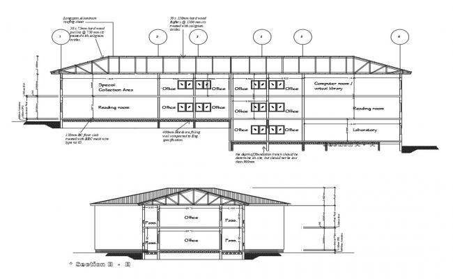 Library Design Architecture Section Drawing