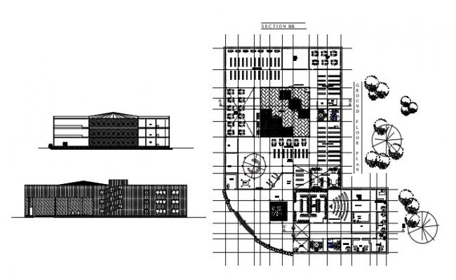 Library Floor Plan In AutoCAD File