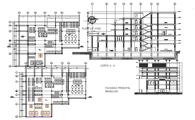 Library Plan, elevation and section detail dwg file