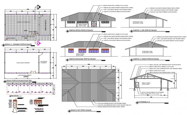 Library Project With Dimension AutoCAD Drawing