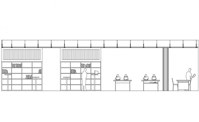 Library Side Elevation DWG File