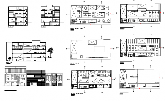 Library building elevation, plan and section 2d view layout file