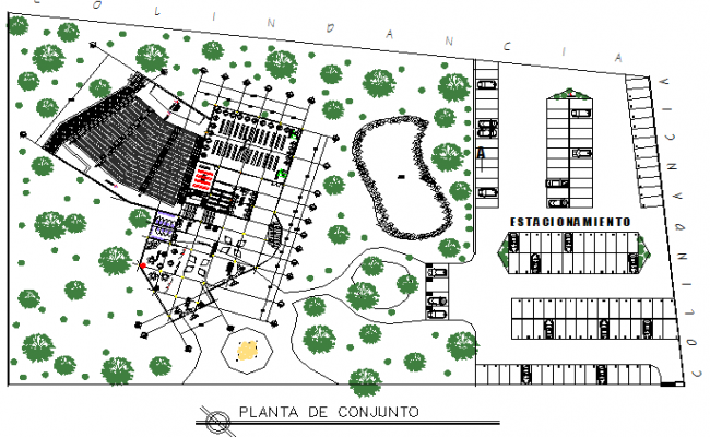 Library building project plan detail dwg file
