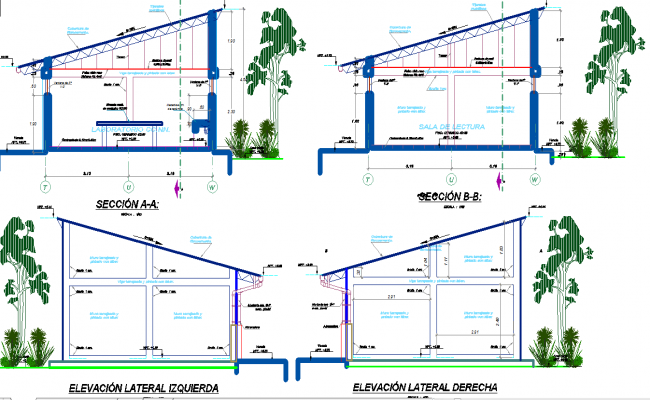 Library elevation and section detail dwg file