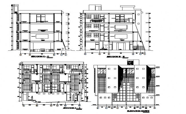 Library Elevation And Section Plan Detail Dwg File