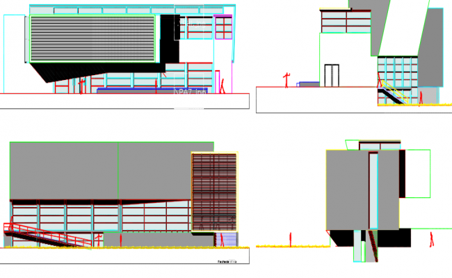 Library elevation detail dwg file