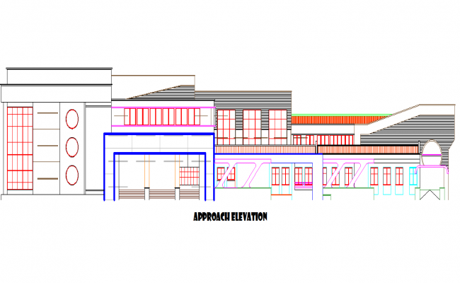 Library front elevation detail dwg file
