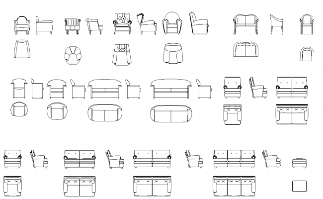 Library of sofas and armed chairs plan detail dwg.