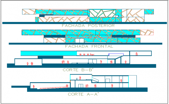 Library of university elevation and sectional details dwg file