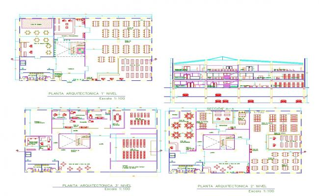 Library plan and elevation layout file