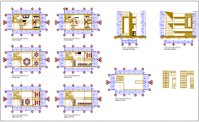 Library plan view with interior design view dwg file