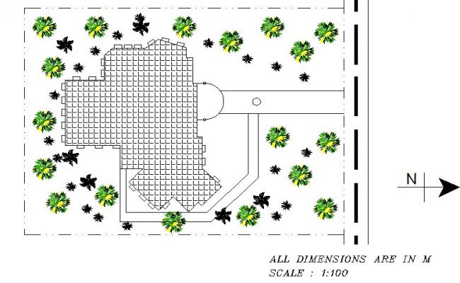 Library roof plan detail dwg file
