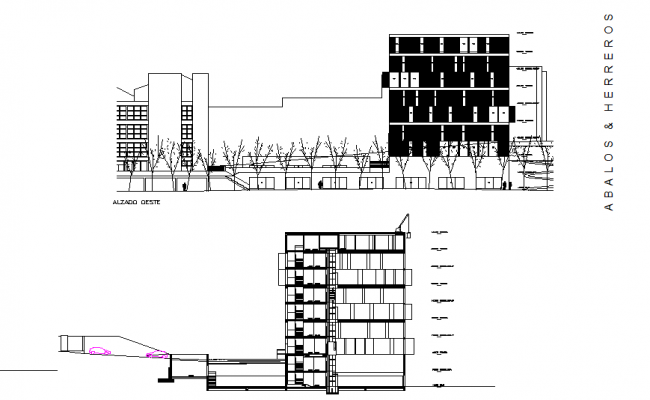 Library section and elevation detail drawing.