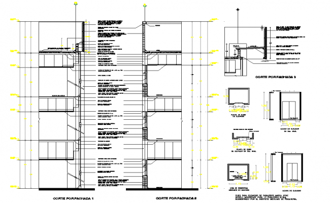 Lift elevator plan and section autocad file