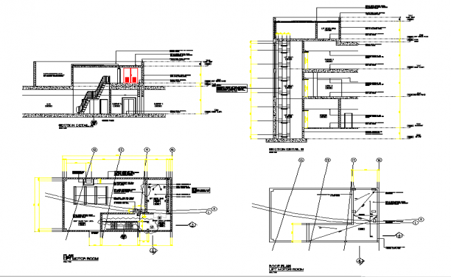 Lift motor room Detail in DWG file