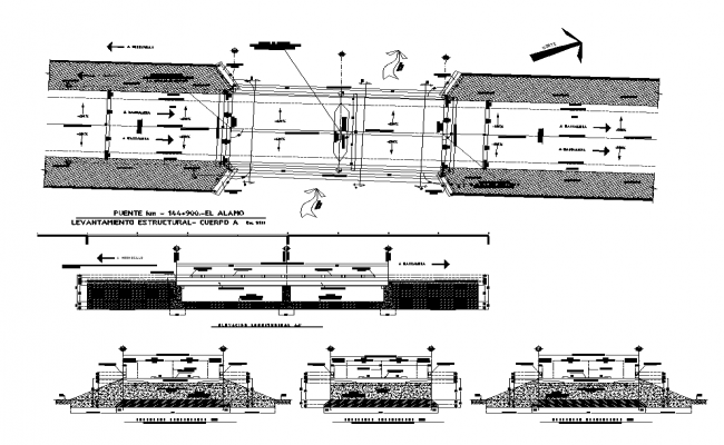 Lifting structure detail elevation, plan and sectional layout file
