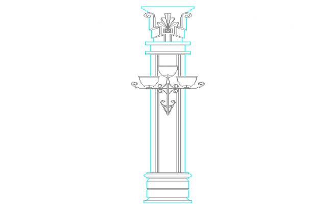 Light column pole cad blocks design dwg file